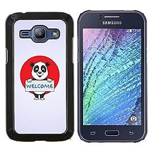 YiPhone /// Prima de resorte delgada de la cubierta del caso de Shell Armor - Bienvenido Iniciar sesión oso de panda de Japón Bandera Rojo Blanco - Samsung Galaxy J1 J100
