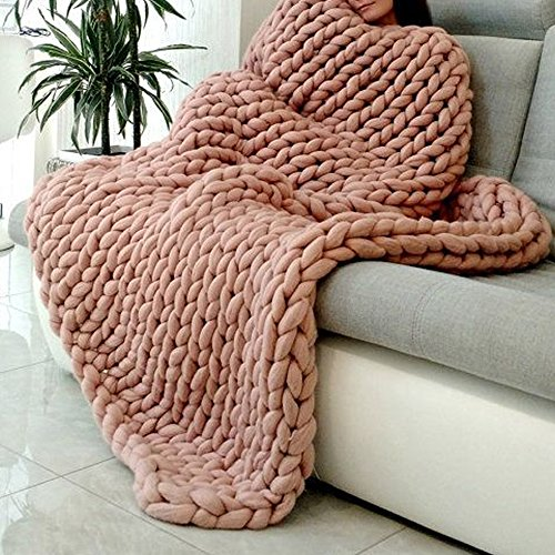 Extreme Arm Knitting Blanket Giant Chunky Knit Blanket Throw Bulky Knit Throw Chunky Sofa Blanket Baby Blanket Pet Bed Chair Mat Rug,Handmade Gift (#5, - Spring Mall Coral