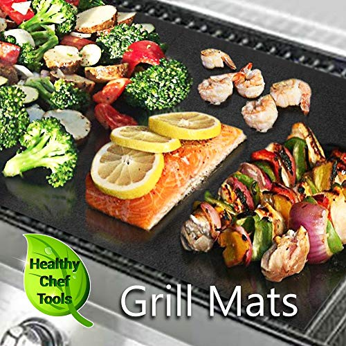 (Set of 3) 2 Premium BBQ Grill Mats and 1 Bonus Baking Sheet, Rugged Heavy Duty Design for Long-Lasting Use, Non-Stick, Easy Cleaning, No Drips, Works on All Grills for Delicious Barbeque Grilling