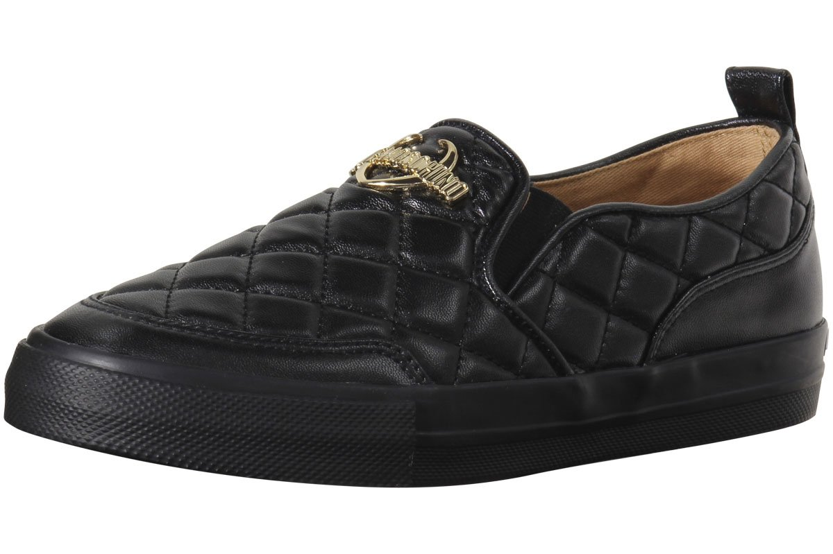 Love Moschino Women's Quilted Metal Logo Black Loafers Shoes Sz: 8