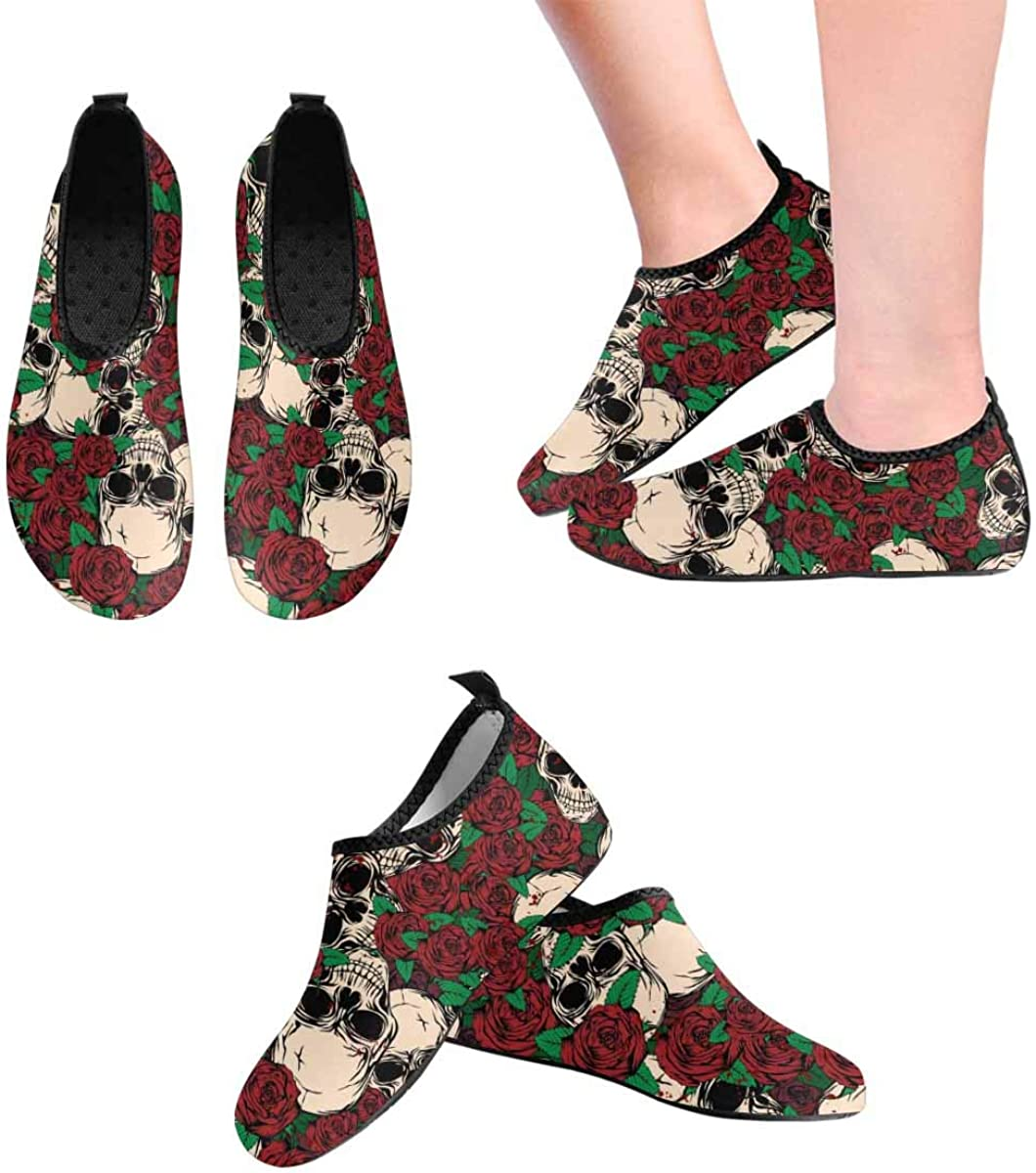 INTERESTPRINT Mens Quick Dry Barefoot Aqua Shoes Grunge Skull Rose Lightweight Barefoot Shoes