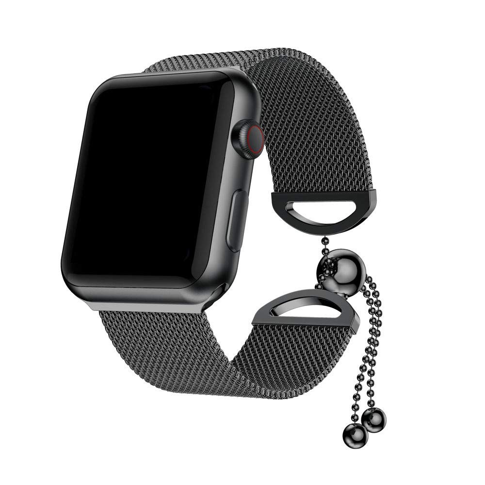Weite Compatible for Apple Watch Band, [40mm] Feminine Milanese Stainless Steel Replacement Bracelet Strap with Adjustable Bead Chain Clasp for Women Girls iWatch Series 4 (Black)