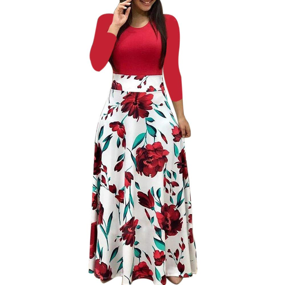 Clearance!Connia Women Fashion Floral Boho Print Maxi Dress Fall Casual Full Sleeve Polka Dot Daily Party Dress (XL, Red)