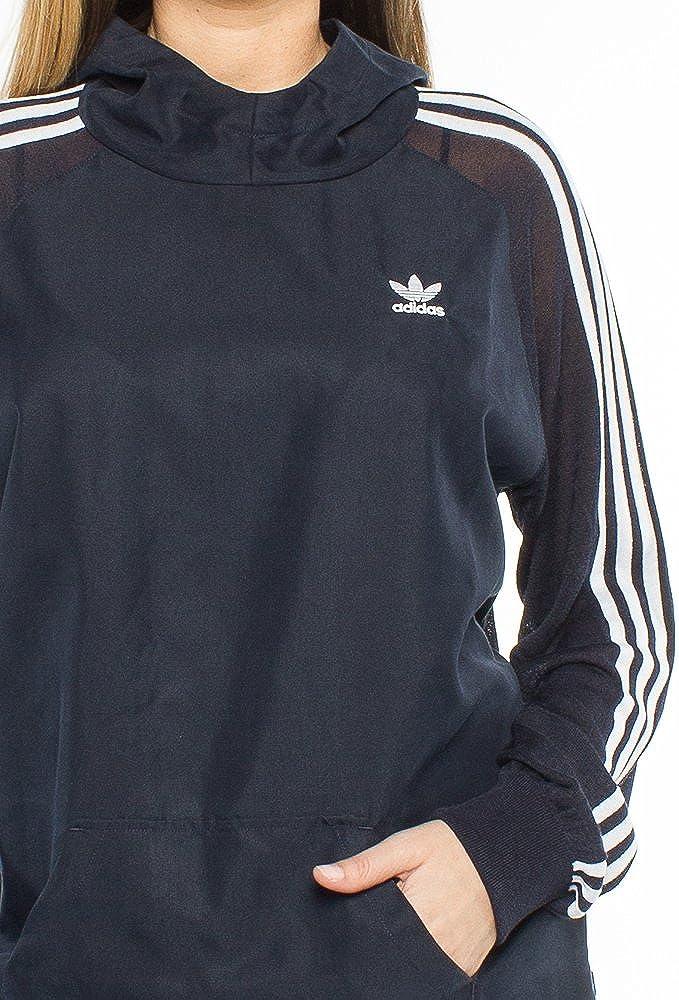 adidas Originals 3 Stripes Long Hoodie langes Sweatshirt Kapuzenpullover Blau Dunkelblau