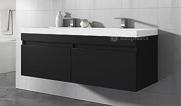 Armoire de salle de bain Avellino 144 cm Lavabo en bois Noir ...