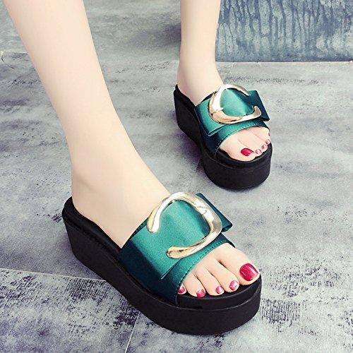 RUGAI-UE Sandalias de suela gruesa verano desgaste zapatillas zapatos de mujer Green