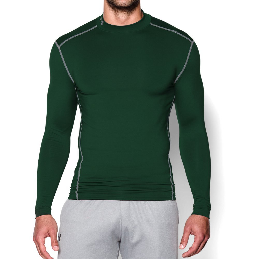 Under Armour Men's ColdGear Armour Compression Mock Long Sleeve Shirt, Forest Green /Steel, Small