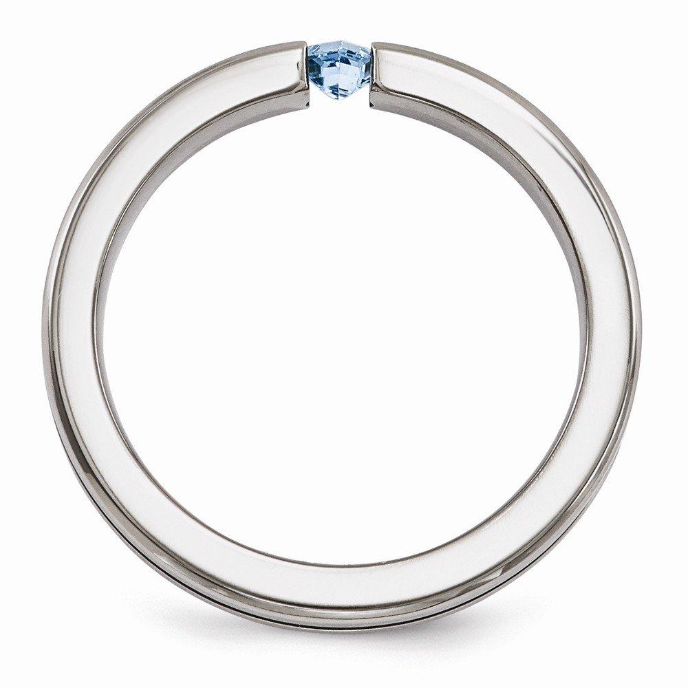 Bridal Wedding Bands Decorative Bands Edward Mirell Titanium Blue Topaz and Blue Anodized 4mm Band Size 6.5
