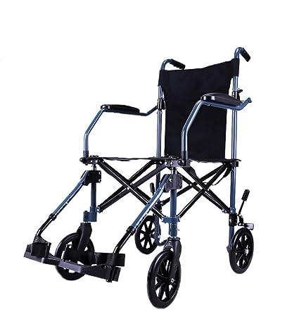 Silla de ruedas transporte aluminio para viajes, plegable ...