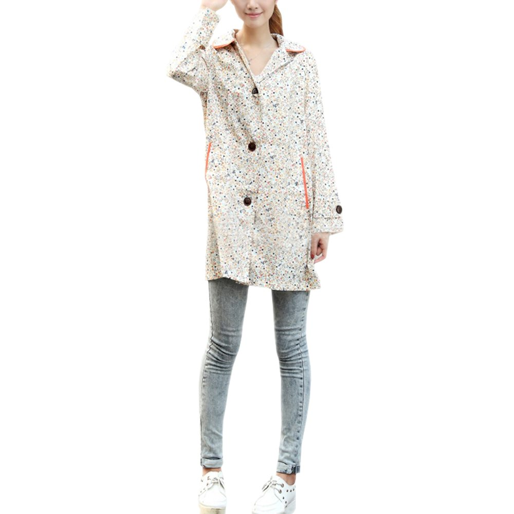 ZEVONDA Raincoats Womens Doll Collar Floral Poncho Rain Jacket