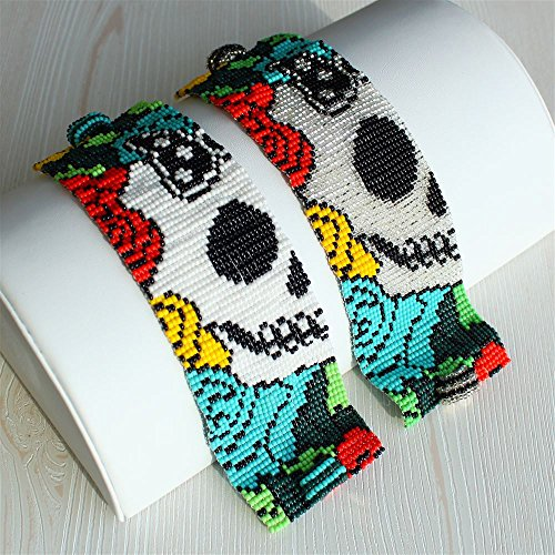 Sugar Skull Day of the Dead Bracelet Woven Crystal Beads Cuff Artisan Made Guatemala