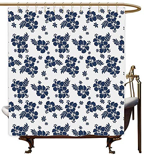 SKDSArts Shower Curtains Texas Hawaii,Monochrome Foliage Bouquet Abstract Art The Flower of Aloha State Hibiscus,Navy Blue White,W65 x L72,Shower Curtain for Shower stall
