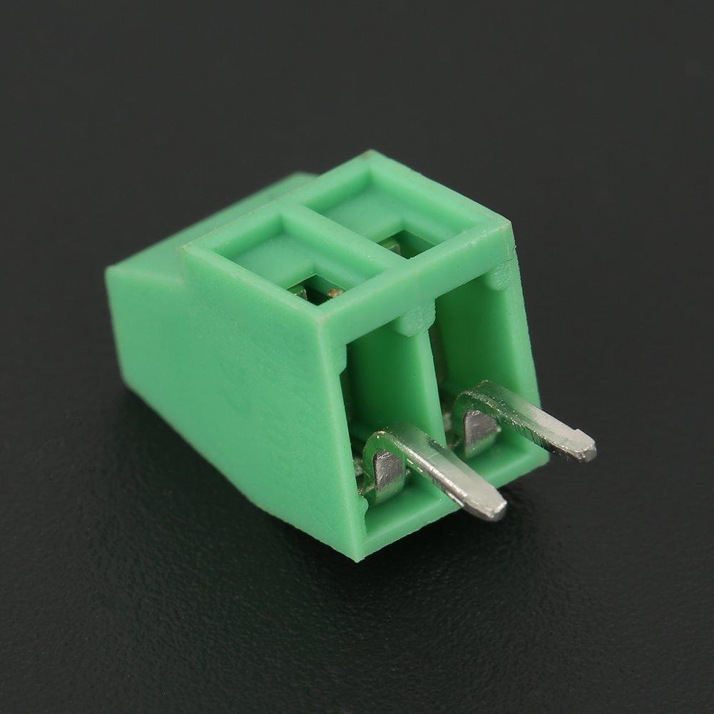 50 Unids//Set Conector De Bloque De Terminales De 2 Pines 2.54 mm Tono Verde Montaje En PCB Tornillo Universal Conector De Bloque De Terminales Baja Frecuencia//Cableado PCB Verde