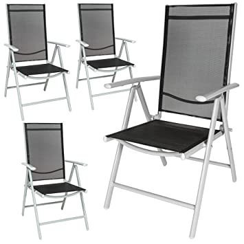 Swell Tectake Aluminium Folding Garden Chairs Set Adjustable With Armrests Different Colours And Quantities Silver 4 Chairs No 401632 Ncnpc Chair Design For Home Ncnpcorg