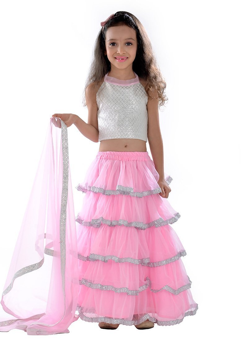 latest designer frock style baby pink lehenga choli for kids 30