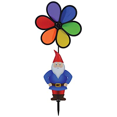 In the Breeze 2697, Gnome with 10 Inch Rainbow Flower Spinner : Garden & Outdoor