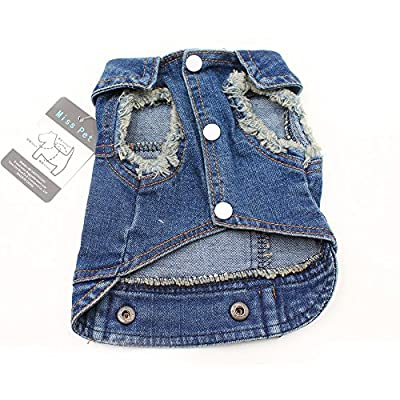 MISS PET Soft Blue Jeans Denim Cute Pet Dog Puppy Coat Jacket Clothes Costume Apparel Hoodies for Small Medium Dogs