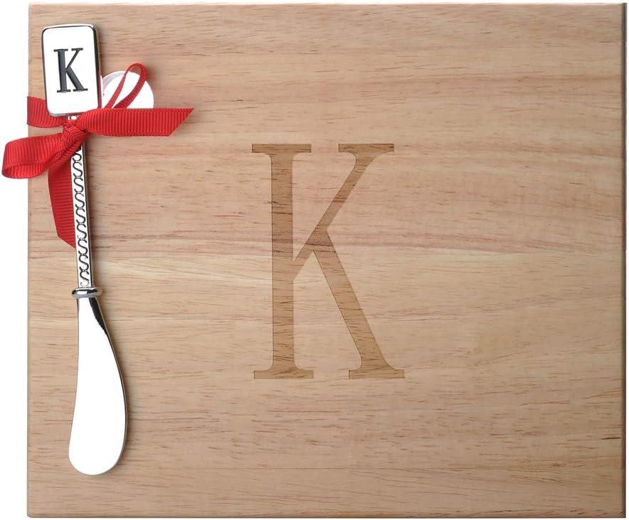 K Monogram Oak Wood Cheese Board With Spreader K-Initial