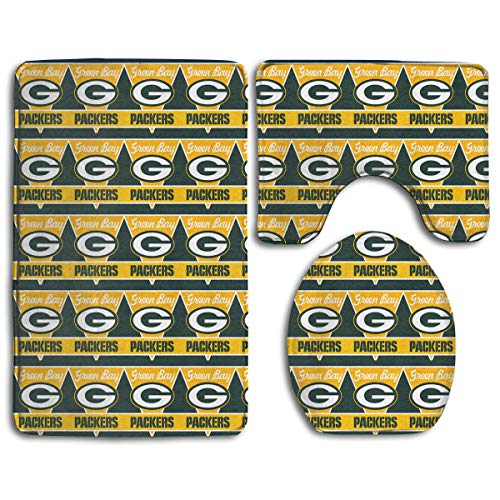 Marrytiny Design Colorful Non Slip 3 Piece Doormat American Football Team Green Bay Packers Anti-Skid Bathroom Rug Set Bath Mat + Contour Rug + Toilet Lid Cover - Packers 3 Bay Piece Green