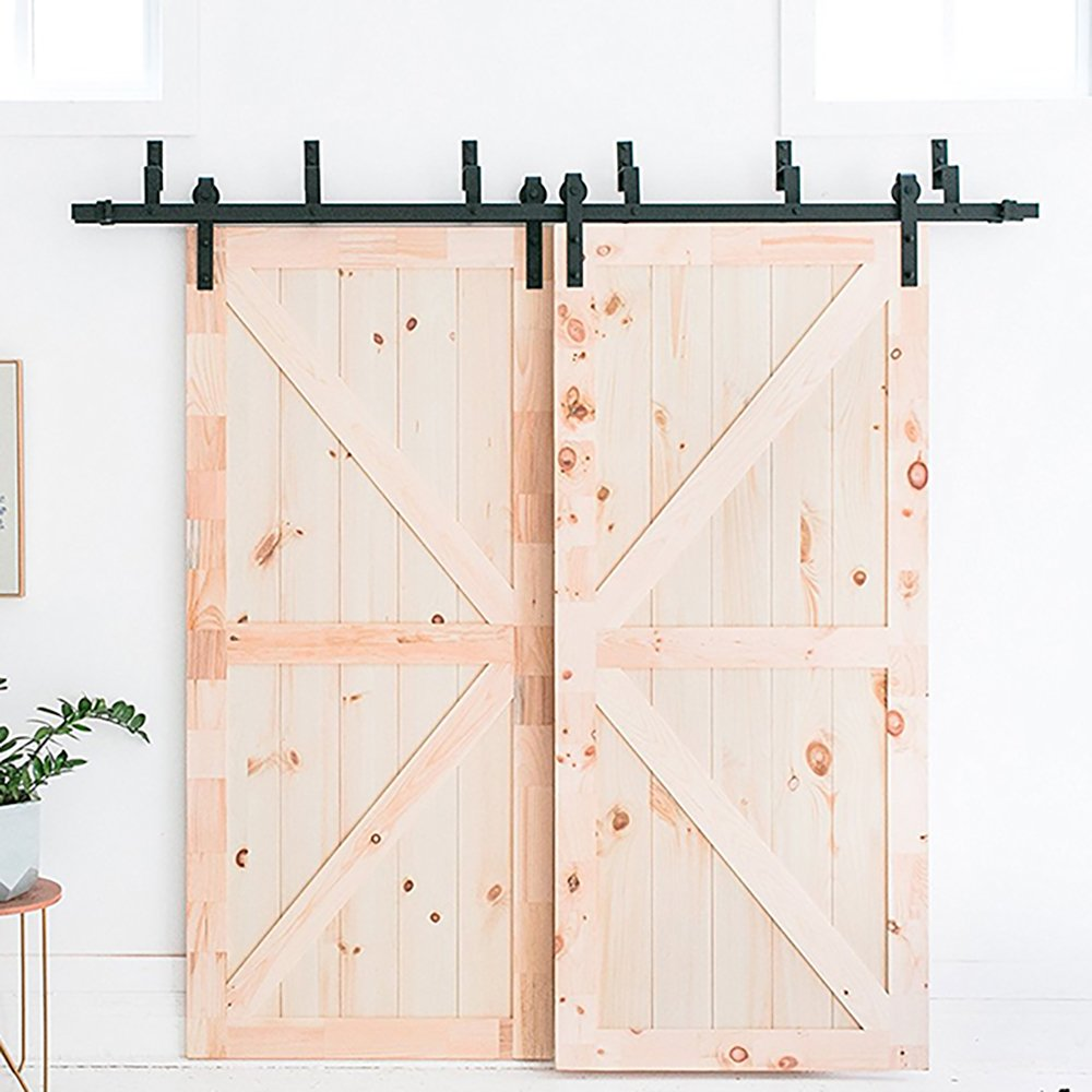 WINSOON Ship From USA 10FT Antique Bypass Double Sliding Barn Wood Door Hardware Cabinet Closet System Black