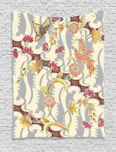 asddcdfdd Batik Decor Tapestry, Japanese Garden Inspired Swirling Spring Flowers Design in Soft Colors Illustration, Wall Hanging for Bedroom Living Room Dorm, 60 W x 80 L Inches, Multi