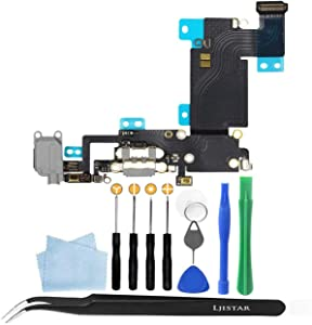Replacement Charger Charging Port USB Connector Dock Microphone Headphone Audio Jack Ribbon Flex Cable Repair Tools with for iPhone 6s Plus 5.5 (Gray)