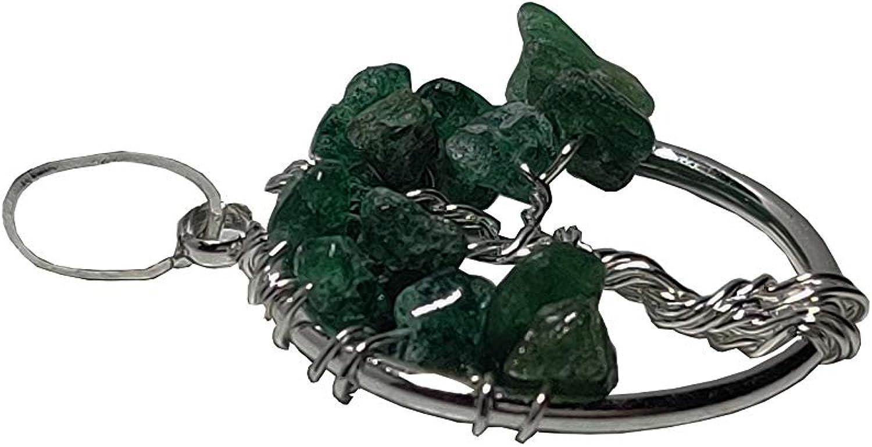 NK CRYSTALS Árbol de la Vida Colgante Natural 7 Chakra Cristal de Equilibrio Reiki Curación Piedra de Jade Colgante Meditación Joyería Regalos Espirituales