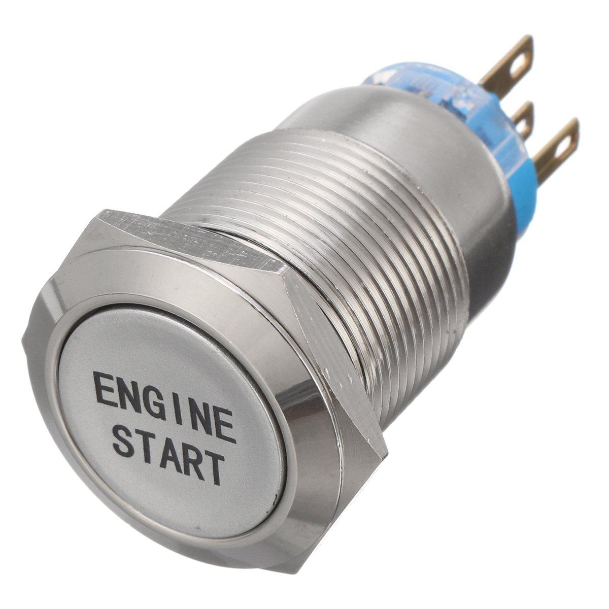 12V 19mm Kfz Auto Knopf Blaue LED-helle Engine Start Momentary Metallschalter
