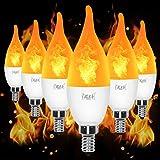 YEAHBEER E12 Flame Bulb LED Candelabra Light Bulbs,1.2 Watt Warm White LED Chandelier Bulbs- Flame Bulbs for Festival/Hotel/Christmas Decoration(6 Pack)