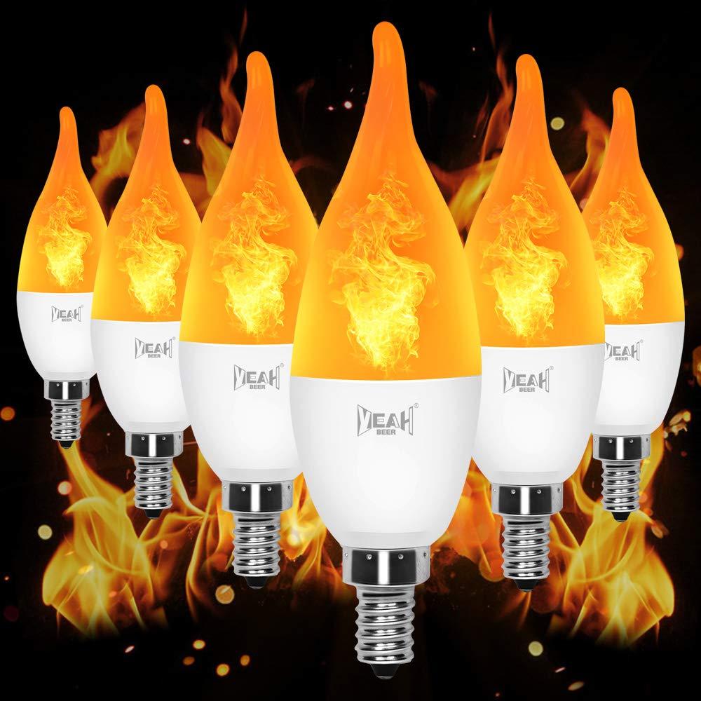 YEAHBEER E12 Flame Bulb LED Candelabra Light Bulbs,1.2 Watt Warm White LED Chandelier Bulbs- Flame Bulbs for Festival/Hotel/Halloween Decoration(6 Pack) by YEAHBEER