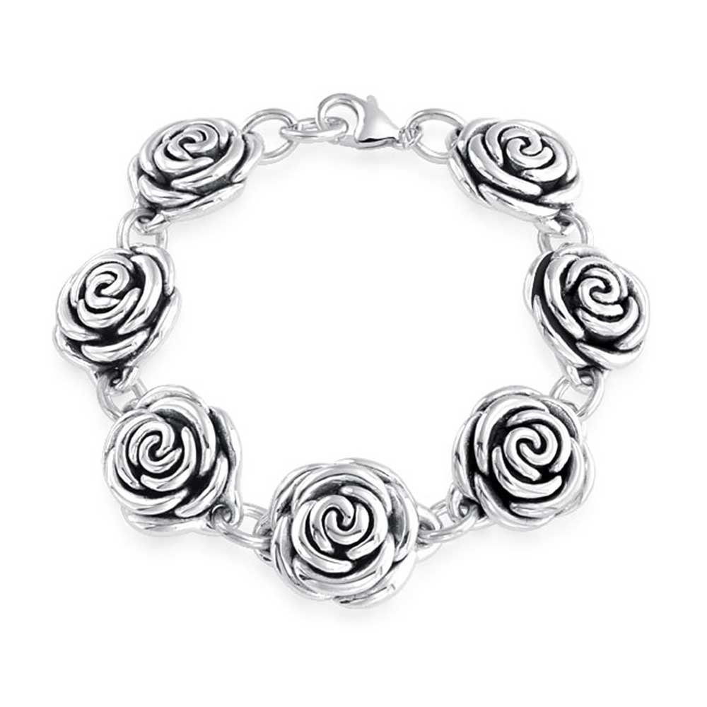 Black Antiqued Finish Roses Flowers Bracelet For Women For Girlfriend Hollow 925 Sterling Silver 7.5 Inch by Bling Jewelry