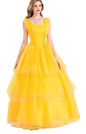 coswe womens adult belle princess dress halloween cosplay costume