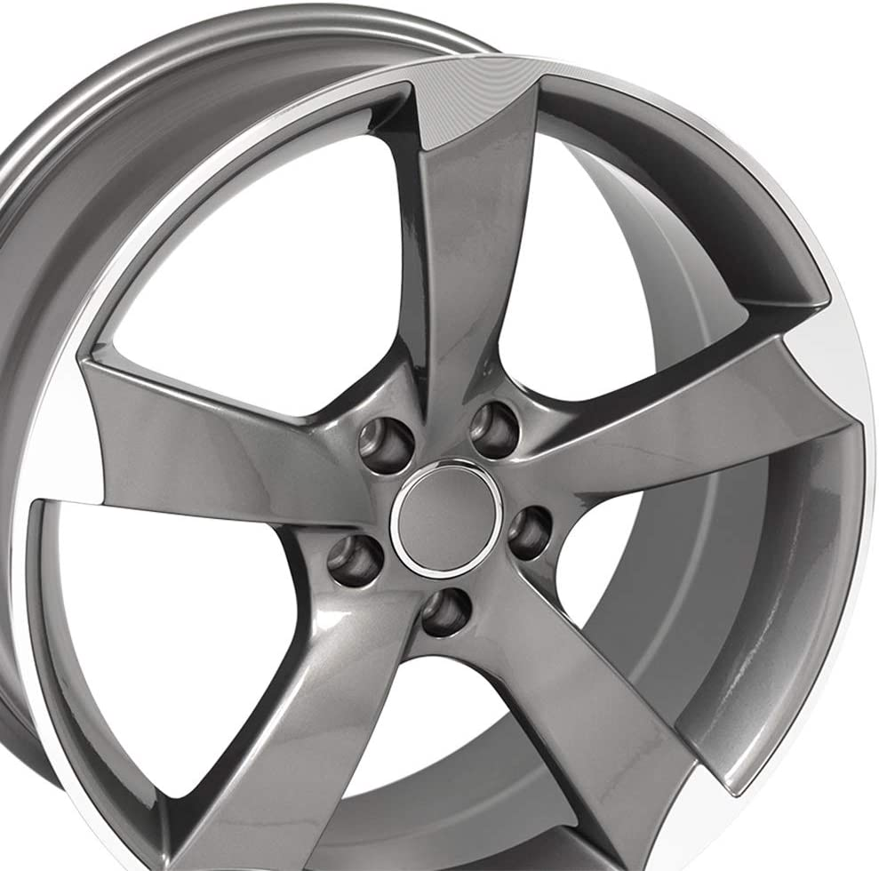 Partsynergy Replacement For 19 Rim fits 2014-2016 Audi RS4 Style Gunmetal Machined 19x8.5 Aluminum Wheel