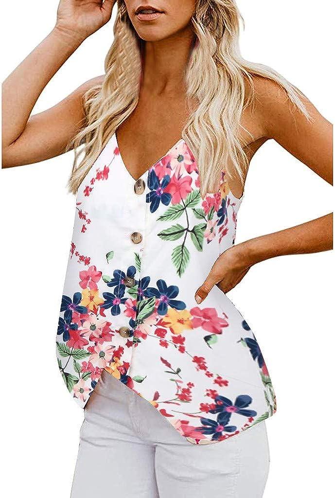 DressLksnf Camiseta Sin Mangas para Mujer Verano de Estampado Floral Mangas Cortas Botones y Cuello en V Chaleco Tirantes Fuera del Hombro Camiseta Casual Suelto Camiseta Tops: Amazon.es: Ropa y accesorios
