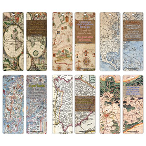 - Creanoso Antique Map Travelers Quote Saying Premium Bookmarks (60-Pack) – Road Trip Travel Readers Reading Gifts - Quality Sturdy Bookmarker Cards Bulk Set
