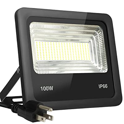 Telaso 100W LED Flood Light, IP66 Waterproof, 9000Lm Outdoor Super Bright Security Lights, 6000K Daylight White, 800W Equivalent, 120 Beam Angle Backyard Lights for Party, Garden, Lawn, Yard