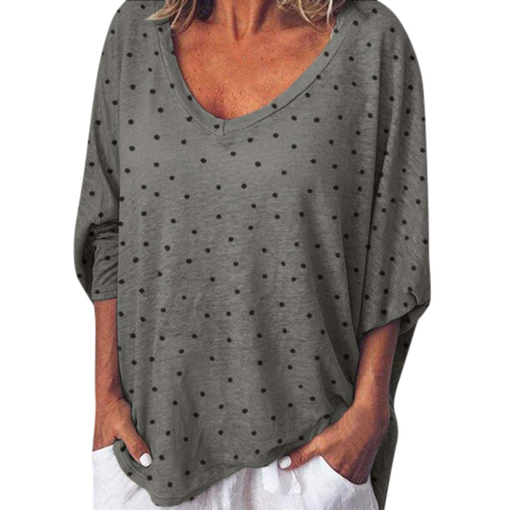 Yoyorule Autumn Pullover Top Fashion Womens Long Sleeve Dot Printed Tees Shirt Loose Blouse Tops Gray