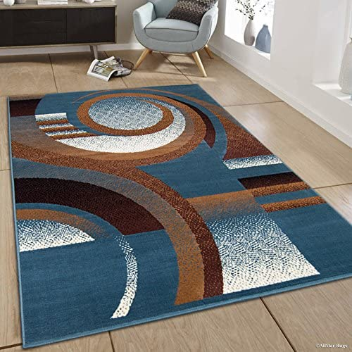 Allstar 5×7 Turquoise Modern and Contemporary Rectangular Accent Rug with Ivory, Mocha and Espresso Swirl Abstract Design 5 2 x 7 0