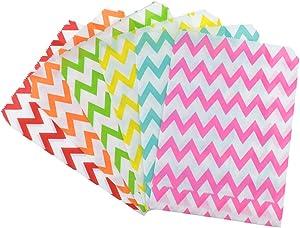 Rantanto 48 Pcs Food Safe Biodegradable Paper Treat Sacks, Party Favors Bags (BZ0002 Chevron)