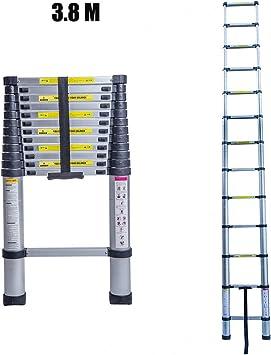 Escalera telescópica, escalera plegable, escaleras dobles, escalera doméstica, escalera de aluminio, 3,8/5 metros: Amazon.es: Bricolaje y herramientas