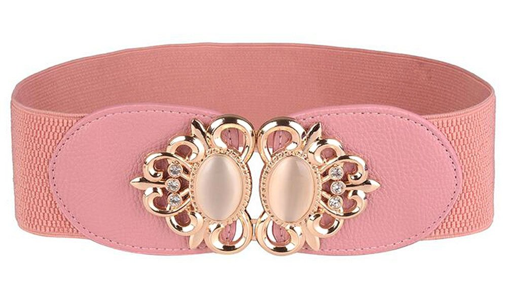 Women Elastic Stretch Wide Waist Belt in Vintage Palace Style 6 Colors (pink)