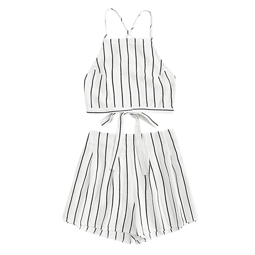 Corsion Women's Summer Stripe Bandage Strap Crop Cami Top With Shorts Set