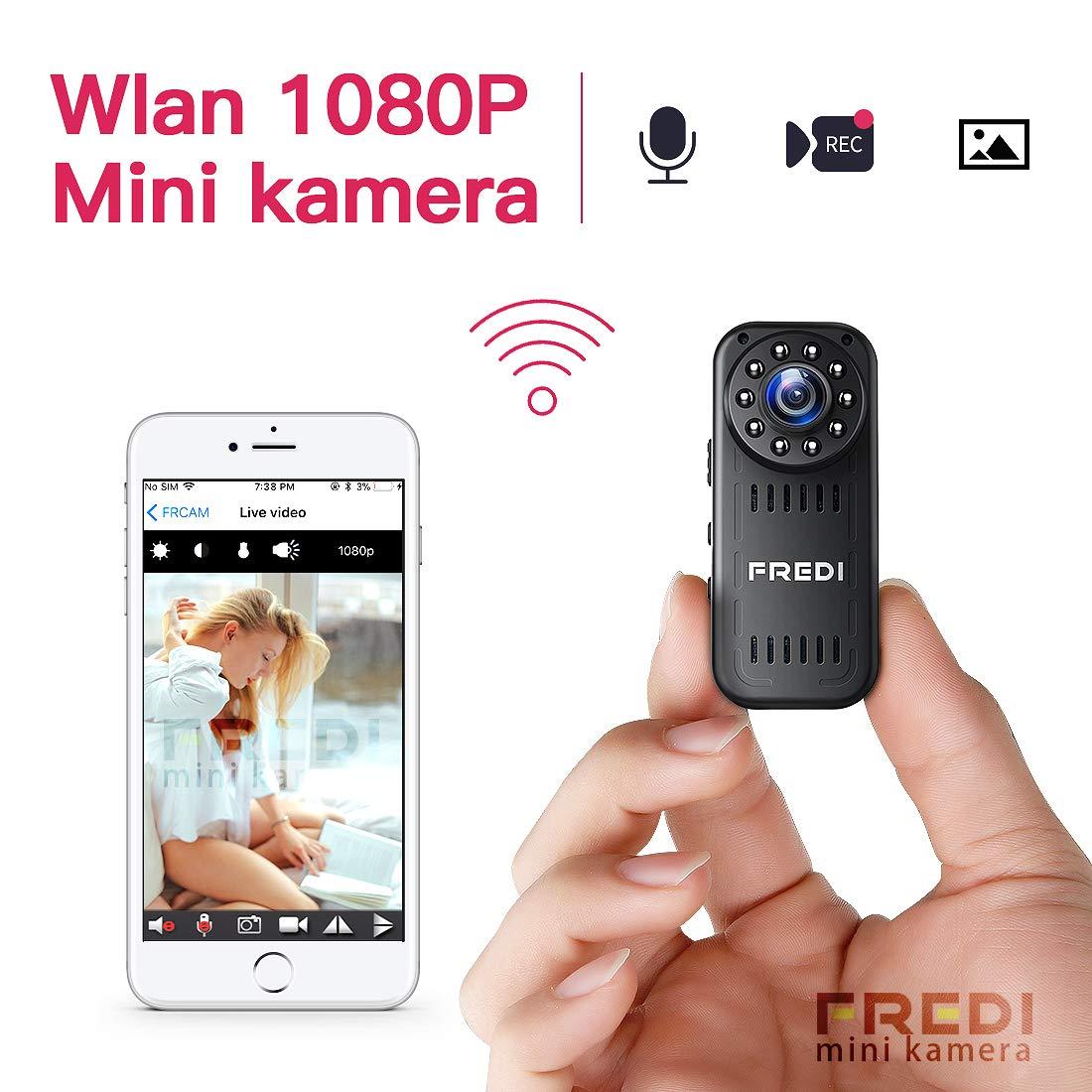 Mini Ü berwachungskamera, FREDI HD 1080P Mini Kamera WiFi Cam Kleine Bluetooth kabellos Tragbare IP Kamera Ü berwachung P2P mit Bewegungsmelder/IR Nachtsicht mit Akku Innen Auß en fü r iPhone app