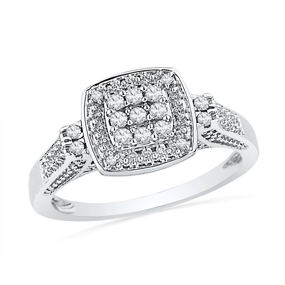 Sterling Silver Round Diamond Square Fashion Ring (1/6 Cttw)