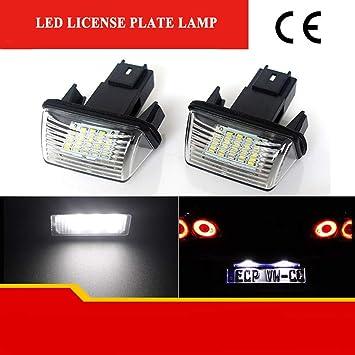 ZTMYZFSL Placa LED de 2 piezas, xenón blanco 6000K para reemplazo, lámpara de matrícula