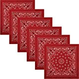 6 Pack - Red Trainmen Cotton Paisley Biker Sport Bandana 22'' x 22''