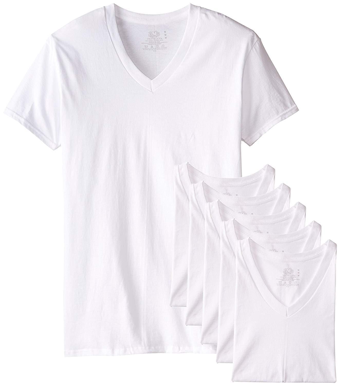Fruit of the Loom Men's Tucked V-Neck T-Shirt (White, X-Large Tall)