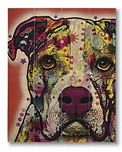 Dean Russo American Bulldog Printed on 11x14 Wood Pallet Slats Wall Art Sign Plaque Distressed Design