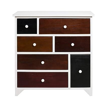 Rebecca Mobili Aparador estilo industrial, mueble blanco, 7 cajones, madera de paulonia, dormitorio entrada sala de estar- Medidas: 67 x 65 x 33 cm (...