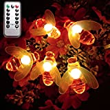 Dreamworth Remote Bee String Lights, 7.5Ft 20 Led Bee Shape Fairy String Lights Battery Operated String Lights for Garden, Patio, Lawn Decoration with Remote Control(Warm White)